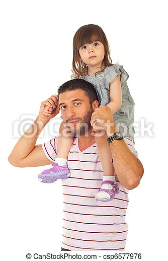 Father giving piggyback to his daughter - csp6577976