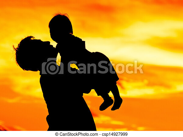 Father hold and kiss baby with love - csp14927999