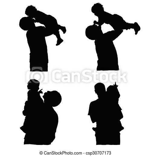 father holding baby silhouette vector - csp30707173