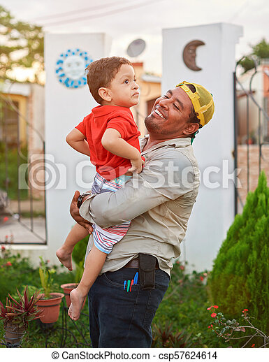 Father holding his son - csp57624614