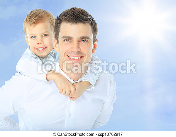Father holding son on his shoulders - csp10702917