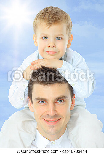 Father holding son on his shoulders - csp10703444