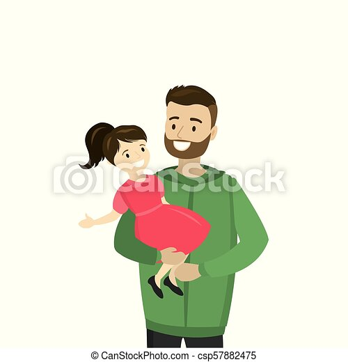 Father holds a daughter in his arms, isolated on white background - csp57882475
