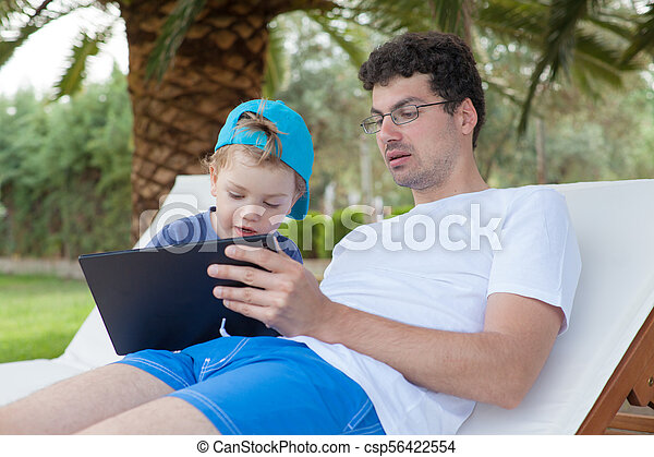 Father Kid Boy Tablet - csp56422554