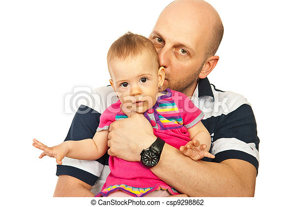 Father kissing baby girl - csp9298862