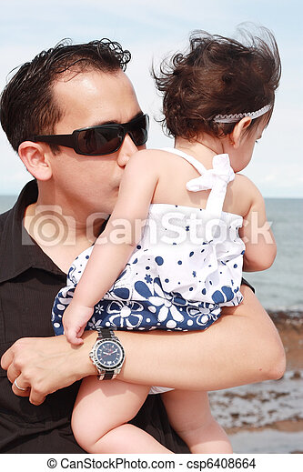 father kissing his baby - csp6408664