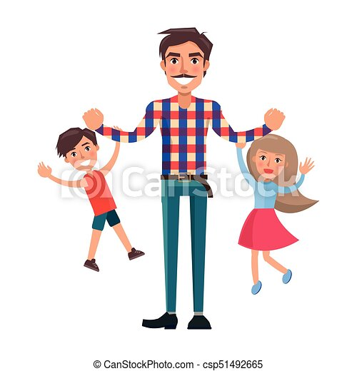 father playing with his son and little daughter father playing with rh canstockphoto com parents and daughter clipart mother father and daughter clipart