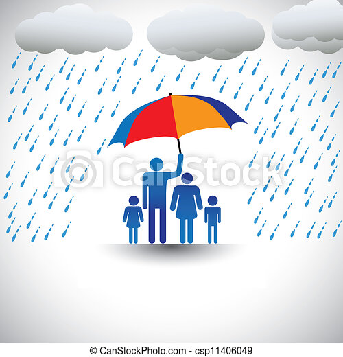 Father protecting family from heavy rain with umbrella. The graphic represents father holding a colorful umbrella covering his family which includes his wife & children(concept of caring, love, etc) - csp11406049