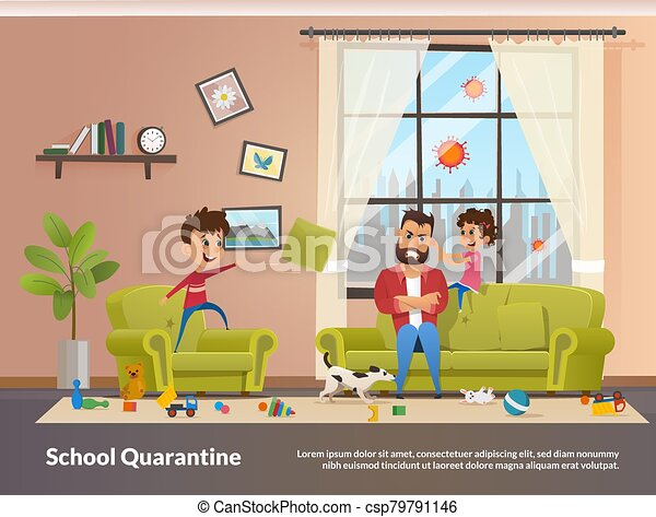 Father Sits with Children Home School Quarantine - csp79791146