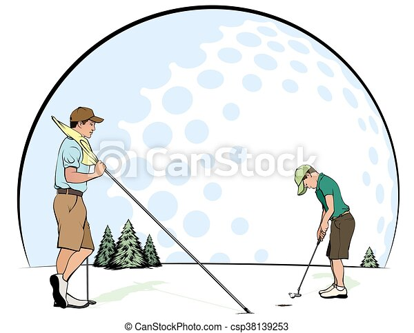 Father & Son Putting - csp38139253