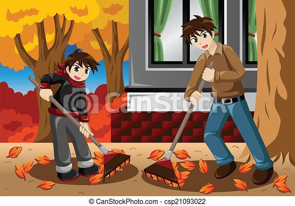 Father son raking leaves during Fall season - csp21093022