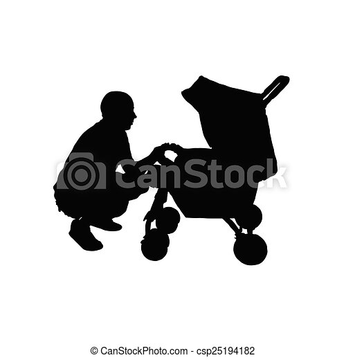 father with a baby carriage vector - csp25194182