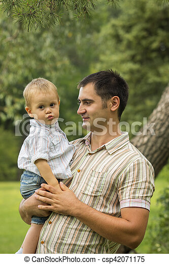 Father with baby son in park - csp42071175