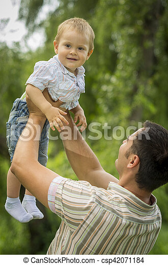 Father with baby son in park - csp42071184