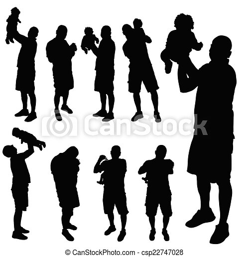 father with baby vector silhouette - csp22747028