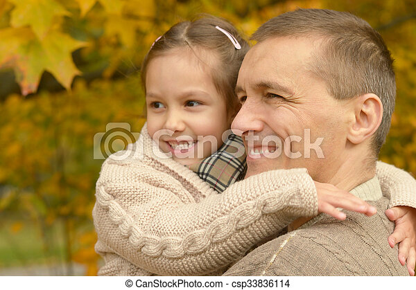 Father with daughter in  park - csp33836114
