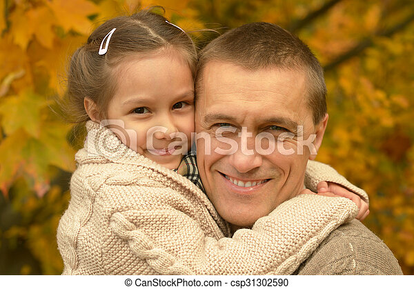 Father with daughter in  park - csp31302590