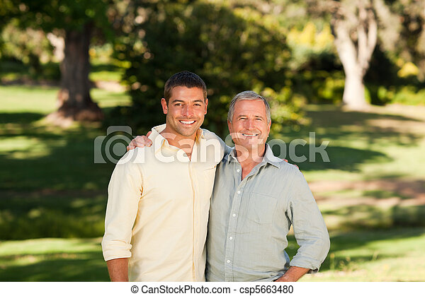 Father with his son looking at the  - csp5663480