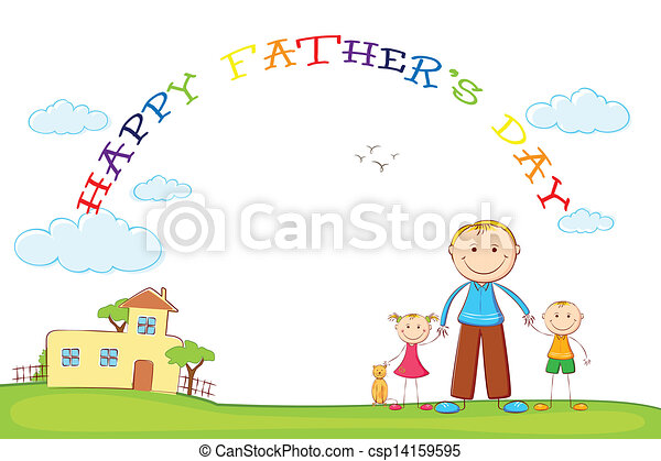 Father with Kids in Father's Day background - csp14159595