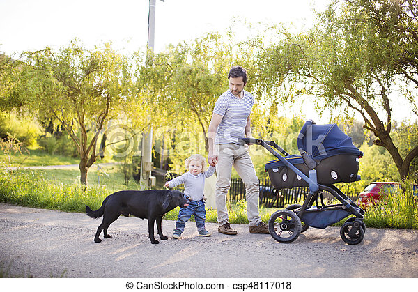 Father with son and baby daughter in stroller. Sunny park. - csp48117018