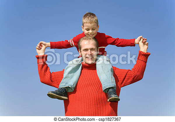 father with son on shoulders - csp1827367