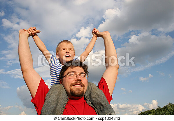 father with son on shoulders - csp1824343