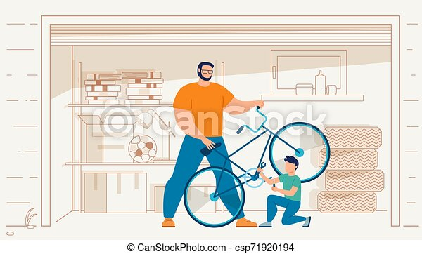 Father with Son Repairing Bicycle in Garage Vector - csp71920194