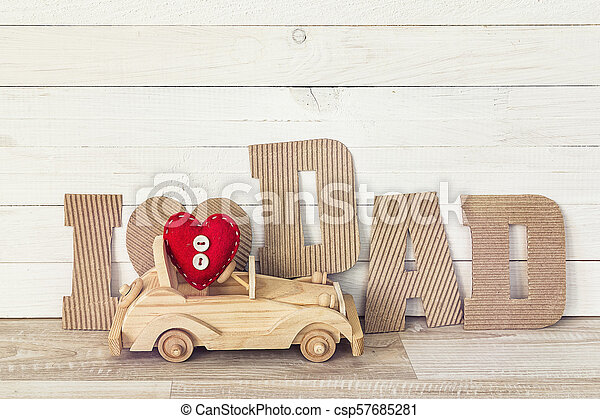 Fathers Day Background With Wooden Toy Car And Cardboard Letters I Love Dad