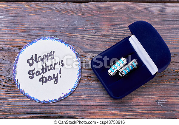 Father's Day card and cufflinks. - csp43753616