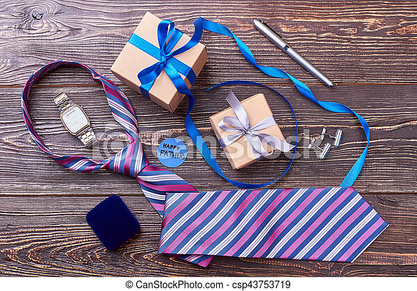 Father's Day card near presents. - csp43753719