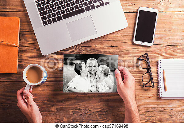 Fathers day composition. Black-and-white photo. Office desk. - csp37169498