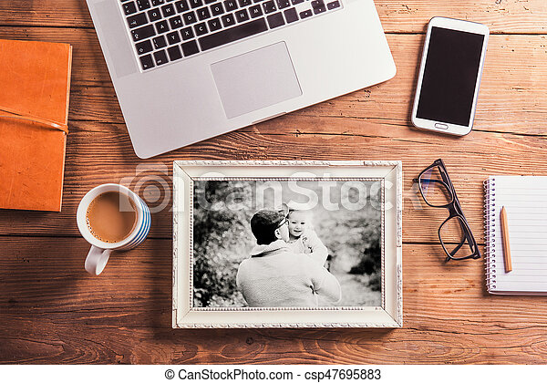 Fathers day concept. Office desk. Studio shot. - csp47695883