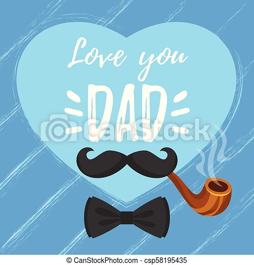 Vector cartoon style illustration of fathers day greeting card ...