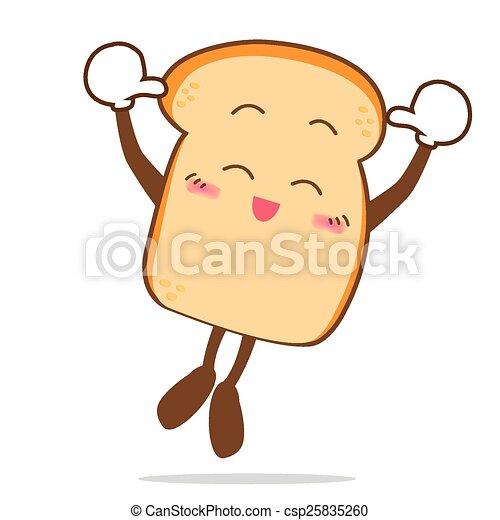 fatia, isolado, pular, sorrizo, feliz, caricatura, pão - csp25835260