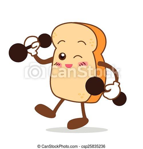 fatia, isolado, sorrizo, feliz, caricatura, pão - csp25835236