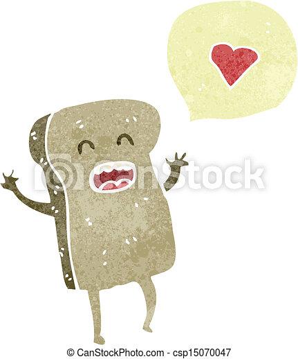 fatia pão, personagem, retro, caricatura - csp15070047
