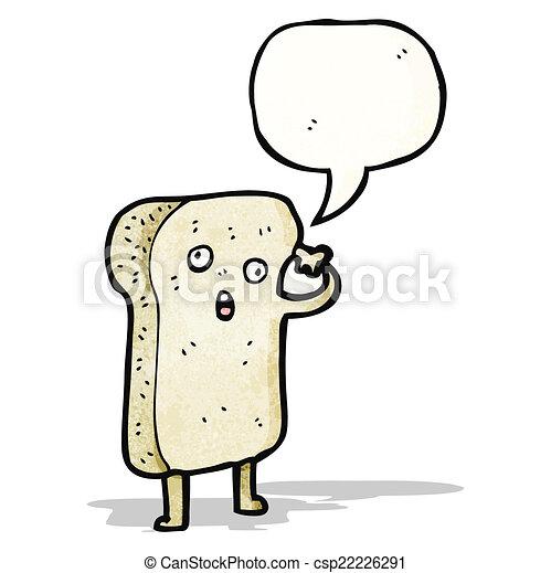 fatia, personagem, caricatura, pão - csp22226291