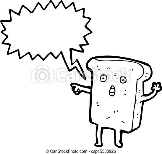 fatia, personagem, caricatura, pão - csp15530926