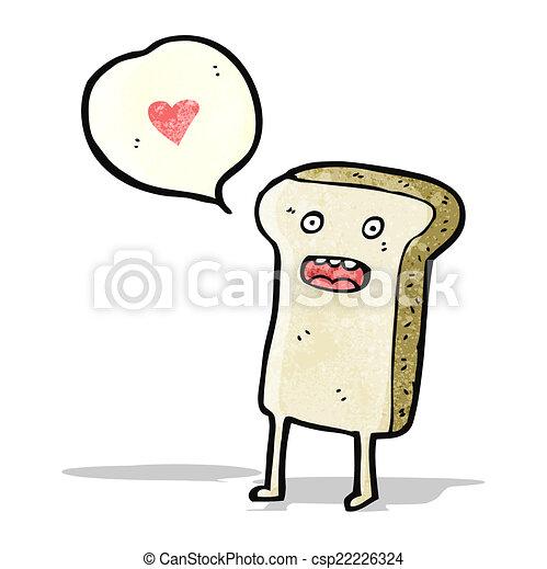fatia, personagem, caricatura, pão - csp22226324