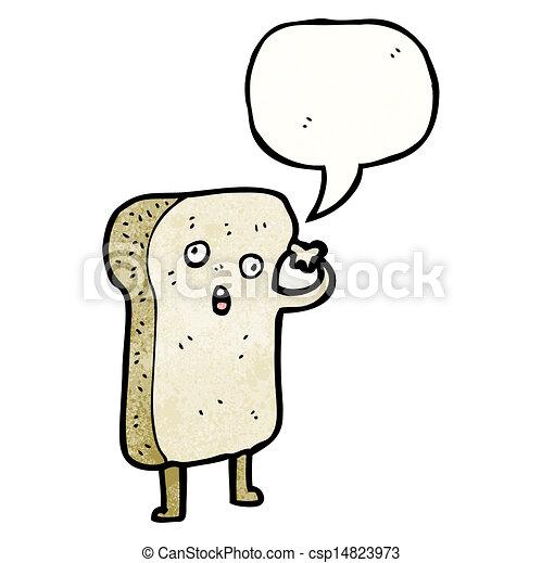 fatia, personagem, caricatura, pão - csp14823973