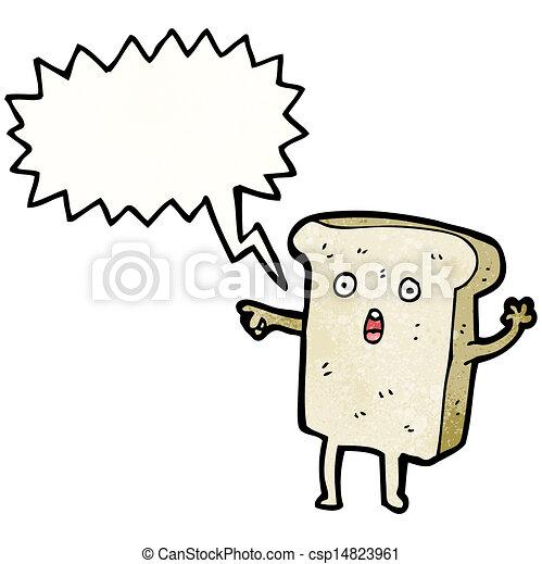 fatia, personagem, caricatura, pão - csp14823961