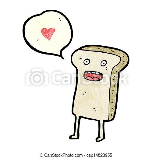 fatia, personagem, caricatura, pão - csp14823955