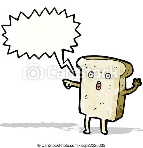 fatia, personagem, caricatura, pão - csp22226333