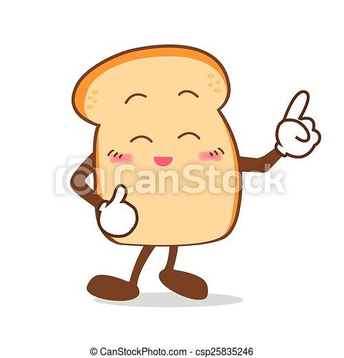 fatia, ponto, isolado, dedo, sorrizo, feliz, caricatura, pão - csp25835246
