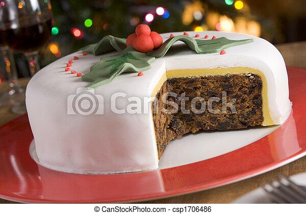 fatias, bolo, fruta, levado, decorado, natal - csp1706486