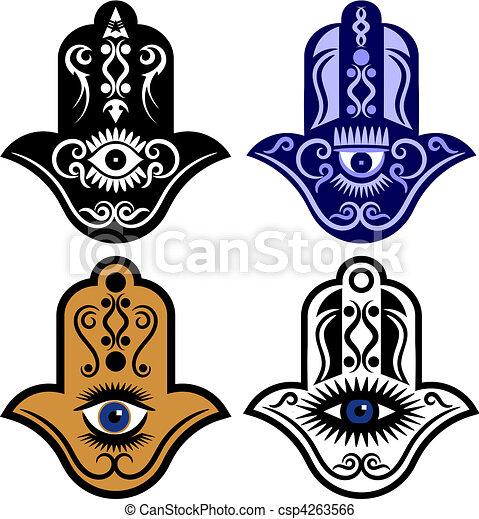 fatima, 手, 眼睛, 或者, hamsa - csp4263566