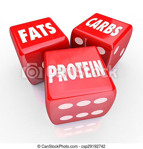Fats Carbs Proteins 3 Red Dice Food Nutrition Balanced Eating - csp29192742