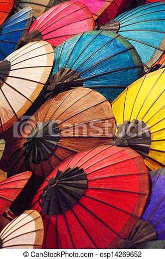 fatto mano, ombrello, laos - csp14269652