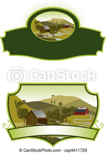 fattoria, americano, etichette, scena - csp4411729