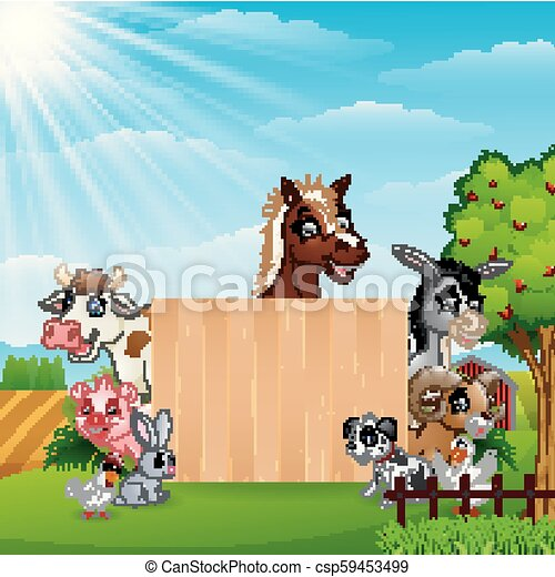 fattoria, bambù, vuoto, animali, segno - csp59453499